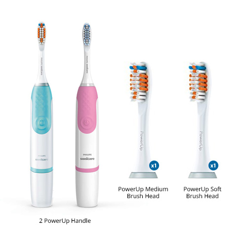Sonicare PowerUp Toothbrush Dual Pack HX3631