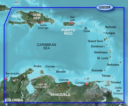 Bluechart g2 vision VUS030R Southeast Caribbean