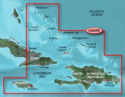 Garmin Caribbean Central America BlueChart Water Maps Bluechart g2 vision VUS029R Southern Bahamas