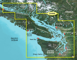 Garmin West Canada BlueChart Water Maps Bluechart g2 vision VCA500L Puget Sound to Port Hardy
