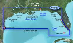 Garmin Southeast United States BlueChart Water Maps Bluechart g2 vision VUS515L Brownsville Key Largo
