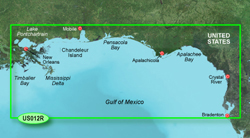 Garmin Gulf of Mexico BlueChart Water Maps Bluechart g2 vision VUS012R Tampa to New Orleans