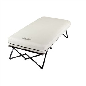 coleman airbed twin cot with side table