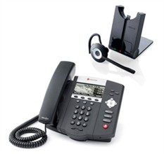 Polycom SIP Voice Over IP Phones 2200 12450 025 AC with Jabra Wireless Headset
