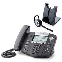 Polycom 4 Line SIP VOIP Phones 2200 12550 001 w Jabra Headset Option