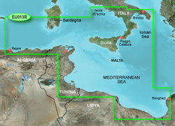 Meriterranean Sea Bluechart Maps  garmin bluechart g2 heu013r italy southwest and tunisia