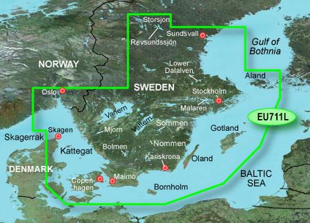 garmin bluechart g2 heu711l sweden south