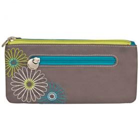 travelon safe id daisy double zip clutch wallet