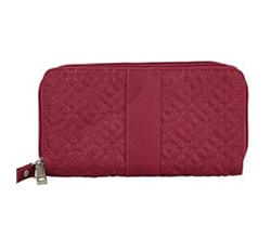 Travelon RFID Wallets travelon signature embroidered double zip clutch wallet