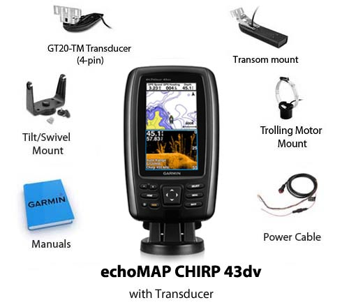 garmin echomap chirp 43dv with transducer