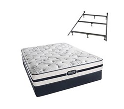 Simmons Beautyrest Full Size Luxury Plush Comfort Mattress and Box Spring Sets With Frame N Plainfield Full PL Low Pro Set with Frame N