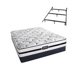Simmons Queen Size Luxury Plush Comfort Mattresses N Plainfield Queen PL Low Pro Set with Frame