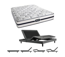Simmons Beautyrest Queen Size Luxury Plush Comfort Mattress and Adjustable Bases N Plainfield Queen PL Mattress w Base