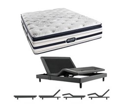 Simmons Beautyrest Twin Size Luxury Firm Pillow Top Comfort Mattress and Adjustable Bases Ford TwinXL LFPT Mattress w Base