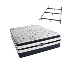 Simmons  Beautyrest Twin Size Luxury Firm Pillow Top Comfort Mattresses N Hanover Twin LFPT Low Pro Set with Frame N