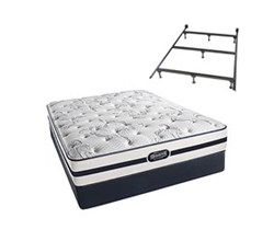 Simmons Beautyrest Twin Size Luxury Plush Comfort Mattress and Box Spring Sets With Frame N Hanover Twin PL Low Pro Set with Frame N