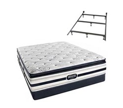 Simmons Queen Size Luxury Plush Pillow Top Comfort Mattresses Ford Queen PPT Low Pro Set with Frame