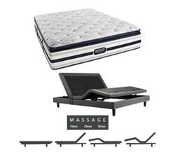 Simmons Beautyrest Queen Size Luxury Plush Pillow Top Comfort Mattress and Adjustable Bases Ford Queen PPT Mattress w Mass Base