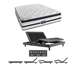 Simmons Beautyrest King Size Luxury Plush Pillow Top Comfort Mattress and Adjustable Bases Ford King PPT Mattress w Mass Base