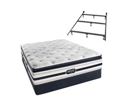 Simmons Beautyrest California King Size Luxury Firm Pillow Top Comfort Mattress and Box Spring Sets With Frame Ford CalKing LFPT Std Set with Frame