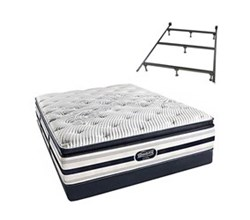 Simmons Beautyrest California King Size Luxury Firm Pillow Top Comfort Mattress and Box Spring Sets With Frame Ford CalKing LFPT Low Pro Set with Frame