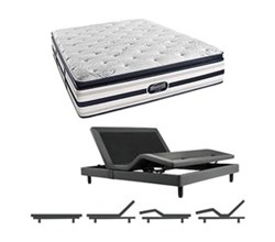 Simmons Beautyrest California King Size Luxury Plush Pillow Top Comfort Mattress and Adjustable Bases Ford CalKing PPT Mattress w Base