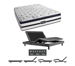 Simmons Beautyrest Twin Size Luxury Plush Pillow Top Comfort Mattress and Adjustable Bases N Hanover TwinXL PPT Mattress w Mass Base N
