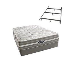 Simmons Beautyrest Queen Size Luxury Firm Comfort Mattress and Box Spring Sets With Frame Smyrna Queen LF Std Set with Frame