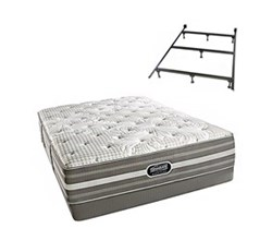 Simmons Beautyrest California King Size Luxury Firm Comfort Mattress and Box Spring Sets With Frame Smyrna CalKing LF Low Pro Set with Frame