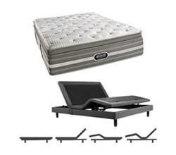 Simmons Beautyrest Twin Size Luxury Firm Pillow Top Comfort Mattress and Adjustable Bases Smyrna TwinXL LFPT Mattress w Base
