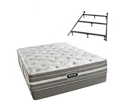 Simmons Beautyrest Queen Size Luxury Plush Comfort Mattress and Box Spring Sets With Frame simmons salem queen pl low pro set with frame
