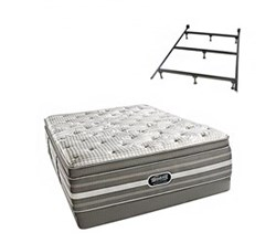 Simmons Beautyrest California King Size Luxury Firm Pillow Top Comfort Mattress and Box Spring Sets With Frame Smyrna CalKing LFPT Low Pro Set with Frame