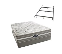Simmons Beautyrest Twin Size Luxury Plush Comfort Mattress and Box Spring Sets With Frame Smyrna Twin PL Std Set with Frame