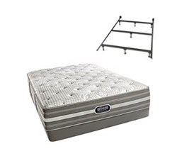 Simmons Beautyrest Queen Size Luxury Plush Comfort Mattress and Box Spring Sets With Frame Smyrna Queen PL Low Pro Set with Frame