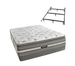 Simmons Beautyrest California King Size Luxury Plush Pillow Top Comfort Mattress and Box Spring Sets With Frame simmons salem calking ppt low pro set with frame