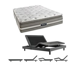 Simmons Beautyrest California King Size Luxury Plush Pillow Top Comfort Mattress and Adjustable Bases simmons salem calking ppt mattress w base