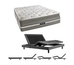 Simmons Beautyrest Full Size Luxury Plush Pillow Top Comfort Mattress and Adjustable Bases Smyrna Full UPPT Mattress w Base