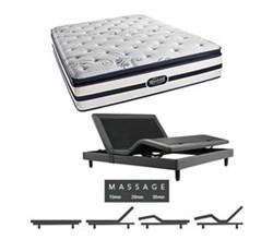 Simmons Beautyrest Queen Size Luxury Plush Pillow Top Comfort Mattress and Adjustable Bases N Hanover Queen PPT Mattress w Mass Base N