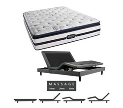 Simmons Beautyrest King Size Luxury Firm Pillow Top Comfort Mattress and Adjustable Bases N Hanover King LFPT Mattress w Mass Base N