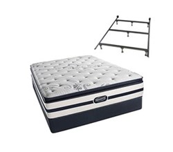 Simmons Beautyrest California King Size Luxury Firm Pillow Top Comfort Mattress and Box Spring Sets With Frame N Hanover CalKing LFPT Low Pro Set with Frame N
