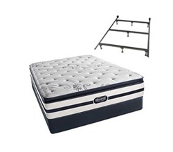 Simmons Beautyrest California King Size Luxury Plush Pillow Top Comfort Mattress and Box Spring Sets With Frame N Hanover CalKing PPT Low Pro Set with Frame N