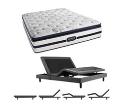Simmons Beautyrest California King Size Luxury Firm  Pillow Top Comfort Mattress and Adjustable Bases N Hanover CalKing LFPT Mattress w Base N