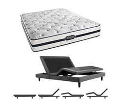 Simmons Beautyrest California King Size Luxury Plush Comfort Mattress and Adjustable Bases N Hanover CalKing PL Mattress w Base N