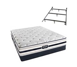 Simmons Beautyrest Queen Size Luxury Plush Comfort Mattress and Box Spring Sets With Frame simmons fair lawn queen pl low pro set with frame