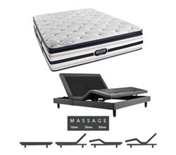 Simmons Beautyrest Queen Size Luxury Plush Pillow Top Comfort Mattress and Adjustable Bases simmons fair lawn queen ppt mattress w mass base