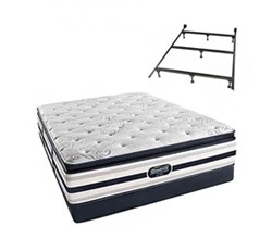 Simmons Beautyrest King Size Luxury Plush Pillow Top Comfort Mattress and Box Spring Sets With Frame simmons fair lawn king ppt low pro set with frame