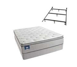 Simmons Beautyrest Queen Size Luxury Firm Pillow Top Comfort Mattress and Box Spring Sets With Frame simmons chickering queen lfpt low pro set with frame
