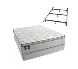 Simmons Beautyrest King Size Luxury Plush Pillow Top Comfort Mattress and Box Spring Sets With Frame simmons chickering king ppt std set with frame