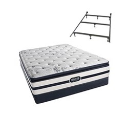 Simmons Beautyrest Twin Size Luxury Plush Pillow Top Comfort Mattress and Box Spring Sets With Frame N Hanover TwinXL PPT Low Pro Set with Frame N