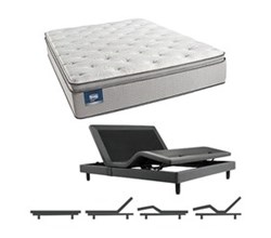 Simmons Beautyrest California King Size Luxury Plush Pillow Top Comfort Mattress and Adjustable Bases simmons chickering calking ppt mattress w base